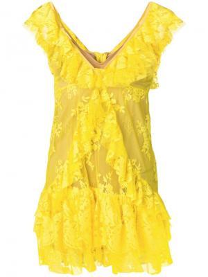Короткое платье с оборками ANIYE BY. Цвет: желтый