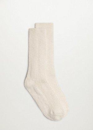 Хлопковые носки в рубчик - Oriente Mango. Цвет: экрю