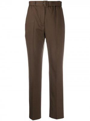 Зауженные брюки с поясом Agnona. Цвет: коричневый