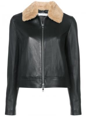 Куртка с меховым воротником Vince. Цвет: чёрный