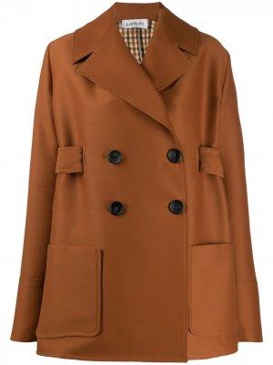 Короткое двубортное пальто LANVIN. Цвет: коричневый