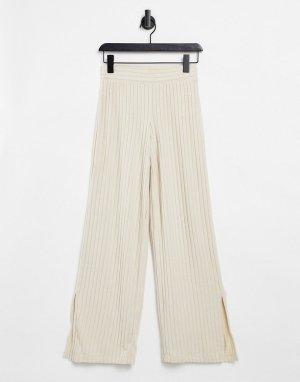 Бежевые брюки с разрезами от комплекта для дома -Белый Gilly Hicks