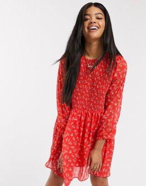 Свободное платье мини со сборками и цветочным принтом -Мульти ASOS DESIGN