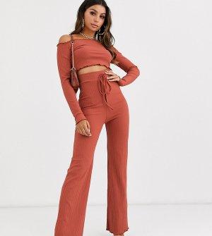 Расклешенные брюки в рубчик -Красный Fashionkilla