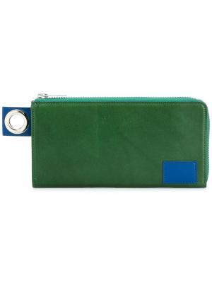 Длинный кошелек Sacai. Цвет: зелёный