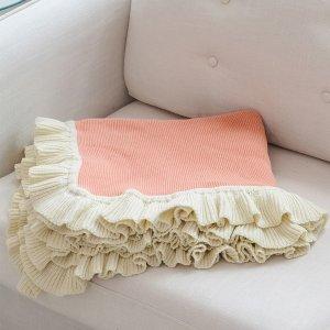 Одеяло с оборками SHEIN. Цвет: коралловый оранжевый