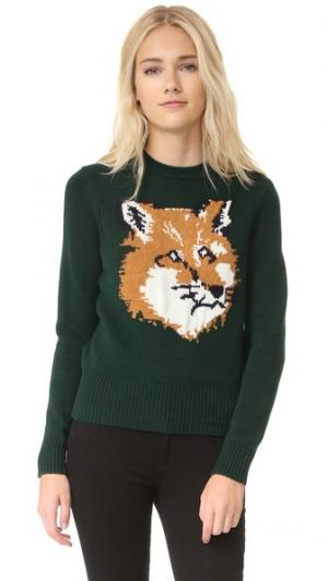 Пуловер Fox Head Maison Kitsune. Цвет: темно-зеленый
