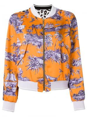 Куртка-бомбер с принтом Just Cavalli. Цвет: жёлтый и оранжевый