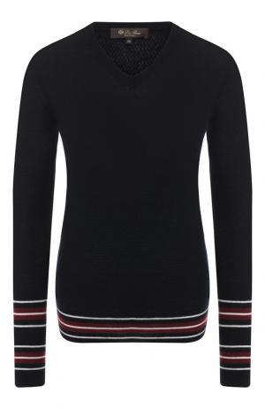 Кашемировый пуловер с контрастными полосками Loro Piana. Цвет: темно-синий