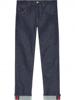 Зауженные джинсы с отделкой Web Gucci. Цвет: синий