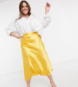 Желтая юбка косого кроя Plus-Желтый Elvi