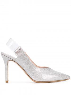 Туфли с ремешком на пятке и эффектом металлик Pinko. Цвет: серебристый