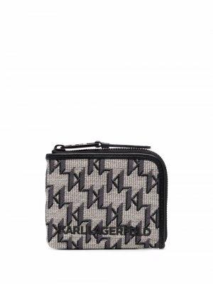 Жаккардовый кошелек K/Monogram на молнии Karl Lagerfeld. Цвет: нейтральные цвета