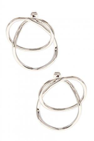 Серебристые серьги-кольца с переплетением Aqua. Цвет: серебряный