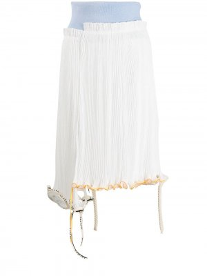 Деконструированная юбка миди с плиссировкой LOEWE. Цвет: белый