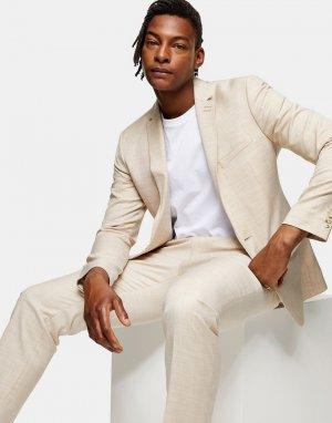 Кремовый однобортный пиджак узкого кроя -Нейтральный Topman