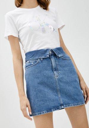 Юбка джинсовая Calvin Klein Jeans. Цвет: голубой