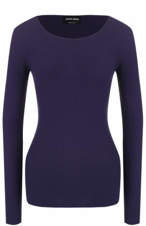 Облегающий пуловер с круглым вырезом Giorgio Armani. Цвет: темно-синий