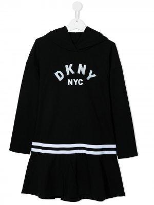 Платье с капюшоном и логотипом Dkny Kids. Цвет: черный