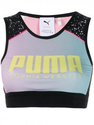 Спортивный бюстгальтер из коллаборации с Sophia Webster Puma X. Цвет: черный