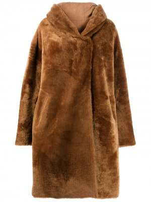 Двустороннее пальто оверсайз Chiron Liska. Цвет: коричневый