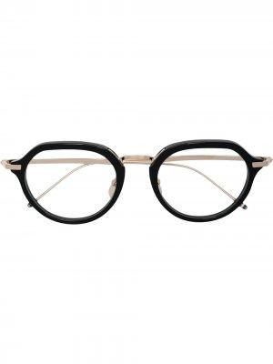 Очки в круглой оправе Thom Browne Eyewear. Цвет: серый