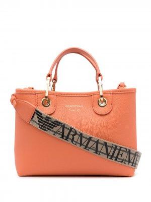 Сумка на плечо с логотипом Emporio Armani. Цвет: оранжевый