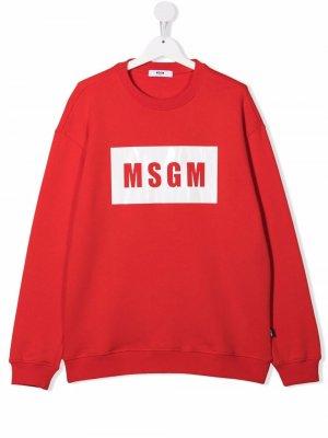 TEEN logo-print cotton sweatshirt MSGM Kids. Цвет: красный