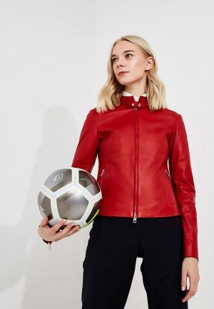Куртка кожаная Emporio Armani. Цвет: красный