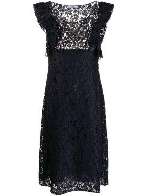 Кружевное платье А-силуэта Prada Pre-Owned. Цвет: синий