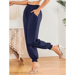 Зауженные брюки с высокой талией SHEIN. Цвет: темно-синий