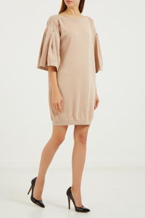 Бежевое платье-пуловер Elisabetta Franchi. Цвет: бежевый