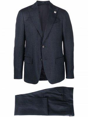 Шерстяной костюм-двойка с однобортным пиджаком Lardini. Цвет: синий