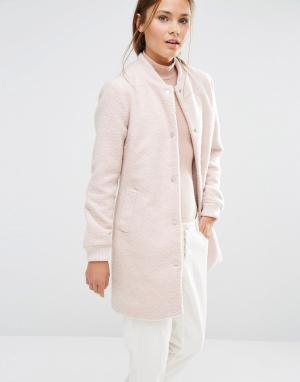 Удлиненный бомбер на основе шерсти New Look. Цвет: розовый