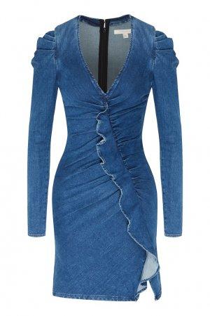 Джинсовое платье мини с рюшами Jonathan Simkhai. Цвет: синий