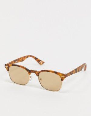Солнцезащитные очки в стиле ретро с черепаховой оправой -Коричневый цвет ASOS DESIGN