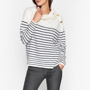 Пуловер с оригинальным вырезом из тонкого трикотажа MES DEMOISELLES. Цвет: экрю/ синий