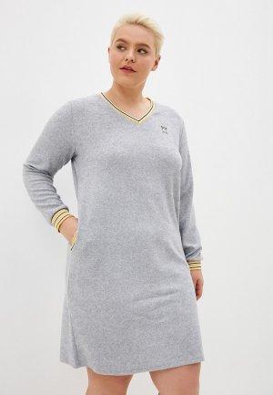 Платье домашнее El Fa Mei. Цвет: серый