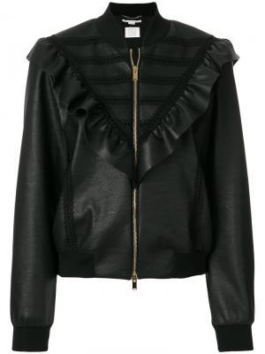 Куртка-бомбер с оборками из искусственной кожи Stella McCartney. Цвет: чёрный