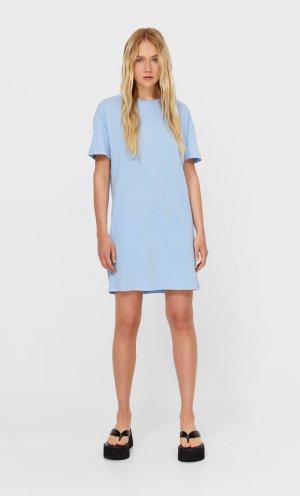 Платье С Короткими Рукавами Небесно-Голубой Xl Stradivarius. Цвет: небесно-голубой