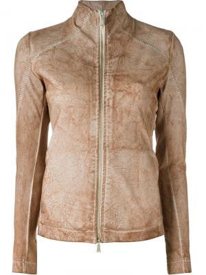 Куртка с потертой отделкой 10Sei0otto. Цвет: телесный