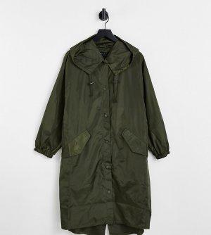 Парка-дождевик цвета хаки ASOS DESIGN Petite-Зеленый цвет Petite