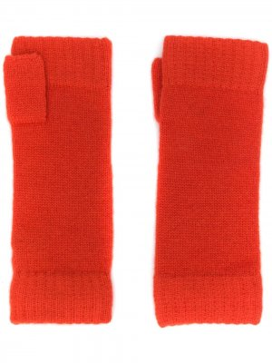 Трикотажные перчатки-митенки N.Peal. Цвет: оранжевый