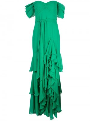 Вечернее платье с открытыми плечами и оборками Badgley Mischka