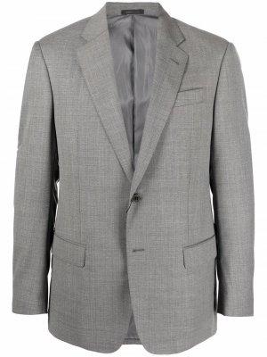 Однобортный пиджак узкого кроя Armani Collezioni. Цвет: серый