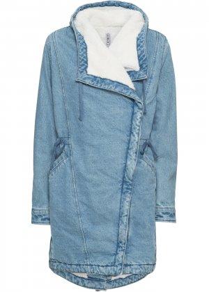 Пальто bonprix. Цвет: синий
