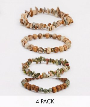 Набор браслетов с бусинами и полудрагоценными камнями – яшмой унакитом в зелено-коричневой цветовой гамме-Мульти ASOS DESIGN