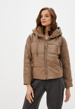 Куртка кожаная Fadjo. Цвет: коричневый