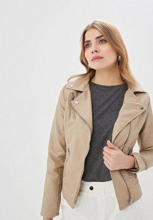 Куртка кожаная Elardis. Цвет: бежевый
