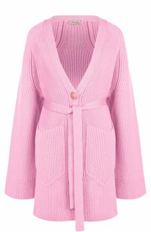 Шерстяной кардиган фактурной вязки с поясом Nina Ricci. Цвет: розовый